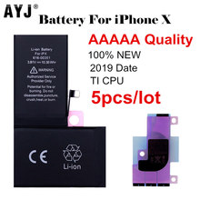 цена на 5pcs/lot 2019 AYJ AAAAA Quality Battery for iPhone X Battery TI Protection Replacement 2716mAh Real Capacity Cobalt Sticker