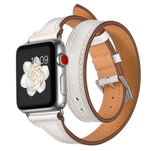 Double Circle Leather Watch Band Strap For Apple 38mm 40mm 42mm 44mm , VIOTOO White Genuine strap for iwatch