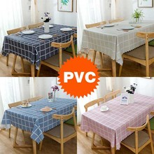 PVC Oilproof Tablecloth Nordic Plaid Household Round Tablecloth Waterproof Tea Table Cloth Cover PEVA Plastic Grid Picnic Mat