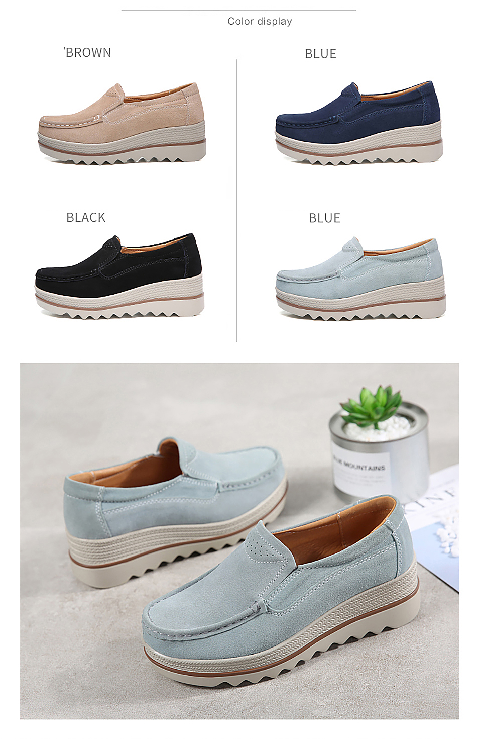 HTB1UCldOmzqK1RjSZPcq6zTepXaU 2019 Spring Women Flats Shoes Platform Sneakers Slip On Flats Leather Suede Ladies Loafers Moccasins Casual Shoes Women Creepers