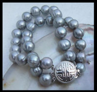 2 row 11 12mm south sea akoya gray baroque pearl bracelet 7.5 8 inch t