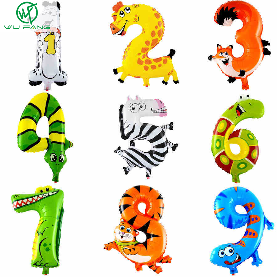1PCS 16inch 2015 Animal Number Foil Balloons Kids Party Decoration Happy Birthday Wedding Decoration Ballon Gift Free Shipping