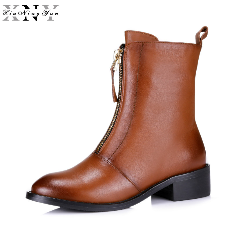 XiuNingYan British Front Zipper Ankle Boots Women Cow Leather 2017 Fall Winter Fashion Low Thick Heel Martin Boots Woman Shoes short boots woman the fall of 2017 a new restoring ancient ways british wind thick boots bottom students with martin boots