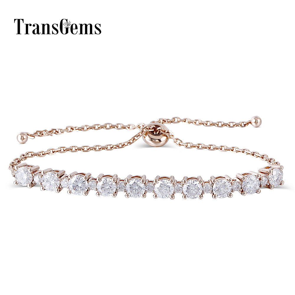 18K 750 Solid Rose Gold Adjustable Chain Bracelet for Women 2.3CTW Moissanite F Color VVS Transgems chic solid color round coin bracelet for women