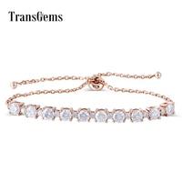 18K 750 Solid Rose Gold Adjustable Chain Bracelet for Women 2.3CTW Moissanite F Color VVS Transgems