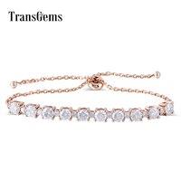 Transgems Solid 18K 750 Rose Gold Adjustable Chain Bracelet for Women Wedding 2.3CTW F Color 4MM and 2MM Moissanite Bracelets