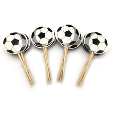 Boys Favors Football Theme Cake Topper Happy Birthday Party Soccer Cupcake Toppers With Sticks Decorate Baby