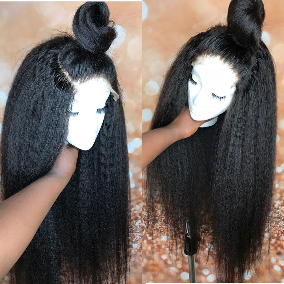 13 4 Kinky Straight Lace Front Human Hair Wigs With Baby Hair Pre Plucked Remy Hair