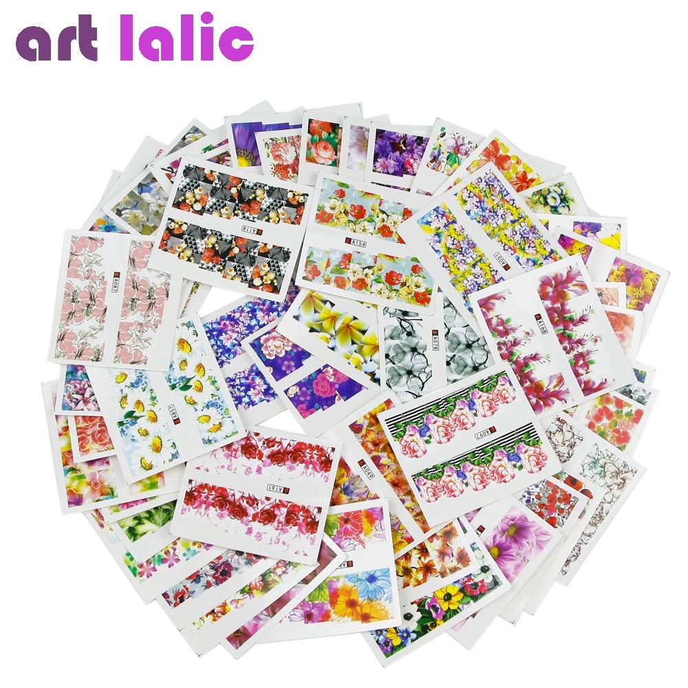 50 sheets Nail Art Water Transfer Mixed Design Sticker Watermark Decals DIY Decoration For Beauty Nail Tools Random Patterns M50