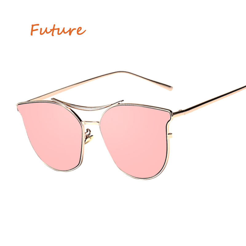 New Cat Eye Sunglasses Women 2018 Brand Coating Mirror Clear Pink Sun Glasses Fashion Me ...