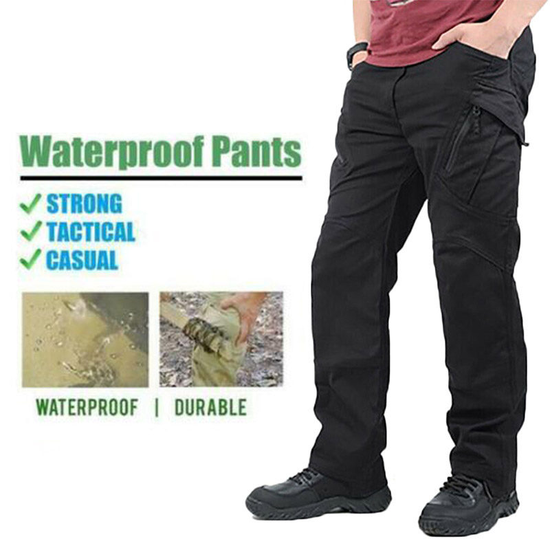 Newly Men Waterproof Work Cargo Long Pants With Pockets Loose Trousers