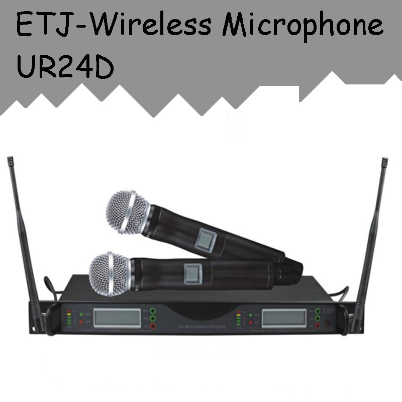 ETJ Brand UR24D True Diversity UR4D With Dual Handheld Wireless Microphone For Stage Performance hot sale top quality true diversity system 2 antenna for stage em2050 skm 9000 skm9000 wireless microphone system 2 performan