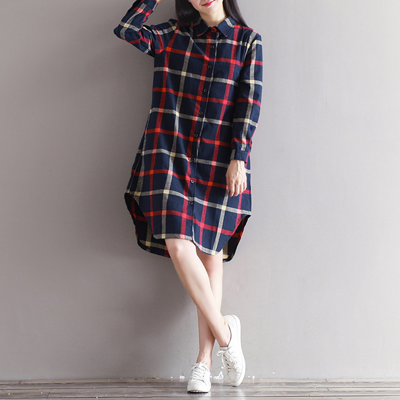 01c6107a040 THHONE 2018 NEW Autumn Winter Dress Shirt Women Plaid Button Up Loost Plus  Size Cotton Vestidos Robe Femme Casual Long Dresses-in Dresses from Women s  ...