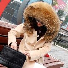 autumn winter coat ladies 2016 new Horn Button Wool Woolen Thicken coat with pure actual huge raccoon fur Hooded casaco feminino