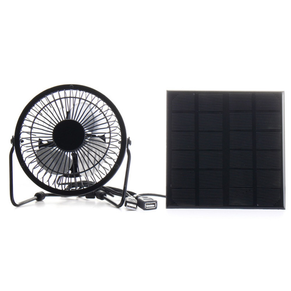цена 3W 6V Solar Panel Iron Fan 4 Inch Cooling Ventilation Fan Charge for Phone for Outdoor Traveling Fishing Home Office