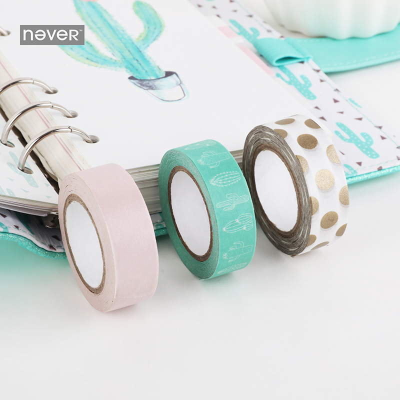 NEVER Cactus Series Stationery decorative sticker washi paper tape set Can be written Ma ...
