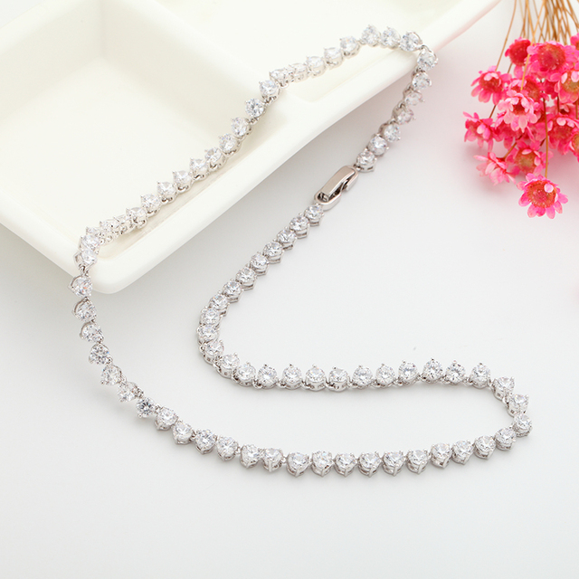 LUOTEEMI New Luxury Classic Simple Design Gold-Color 3 Prong Round Cubic Zircon Necklace Bridal Jewelry Wedding Accessories