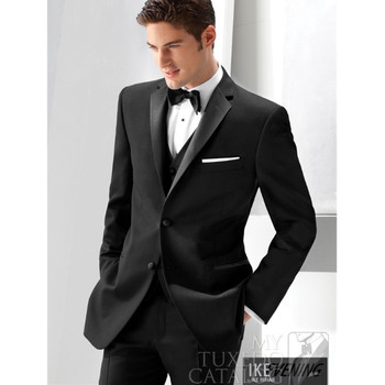 Classic high-quality men's suits black lapel single-breasted men's wedding dress and ball gown (jacket + pants + vest) custom