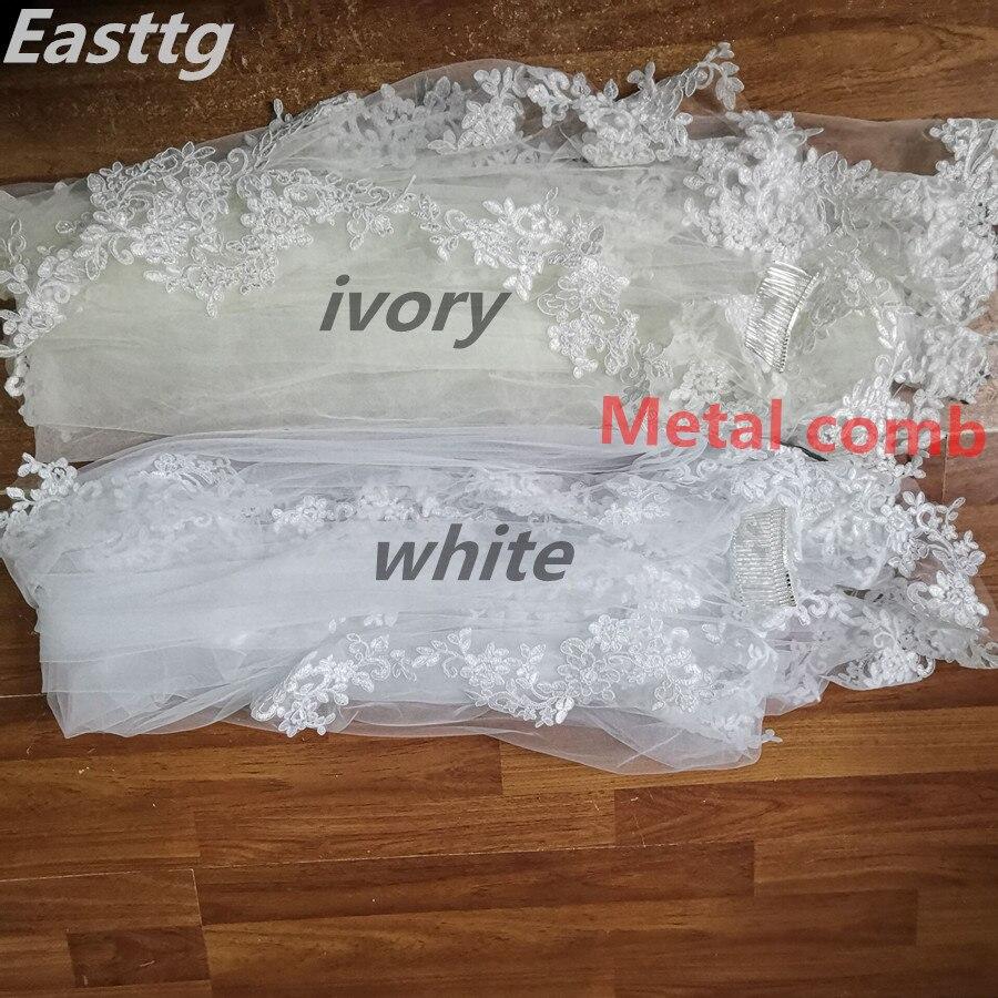 2020 Real Photos White/Ivory Wedding Veil 3m Long Comb Lace Mantilla Cathedral Bridal Veils Wedding Accessories Veu De Noiva
