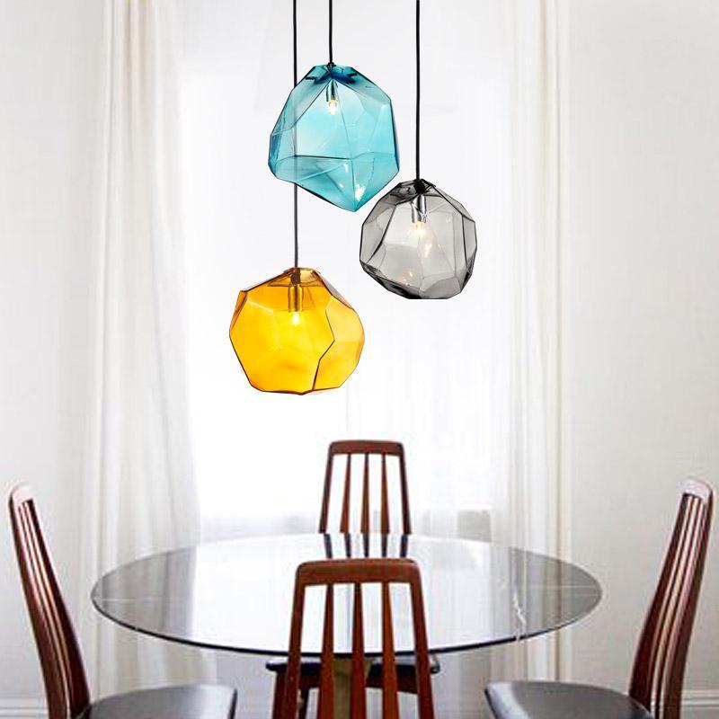 Lodge Glass Pendant Lights Lampe Bar Arts U0026 Crafts Led G4/G9 Bulb Blue  Smoke Irregular Glass Pendant Lamp Dining Room Lighting