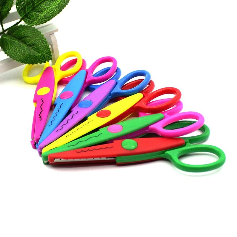 1 Piece Laciness Scissors Metal And Plastic DIY Clip Art Photo Color Scissors Paper Lace Diary Decoration 6 Patterns