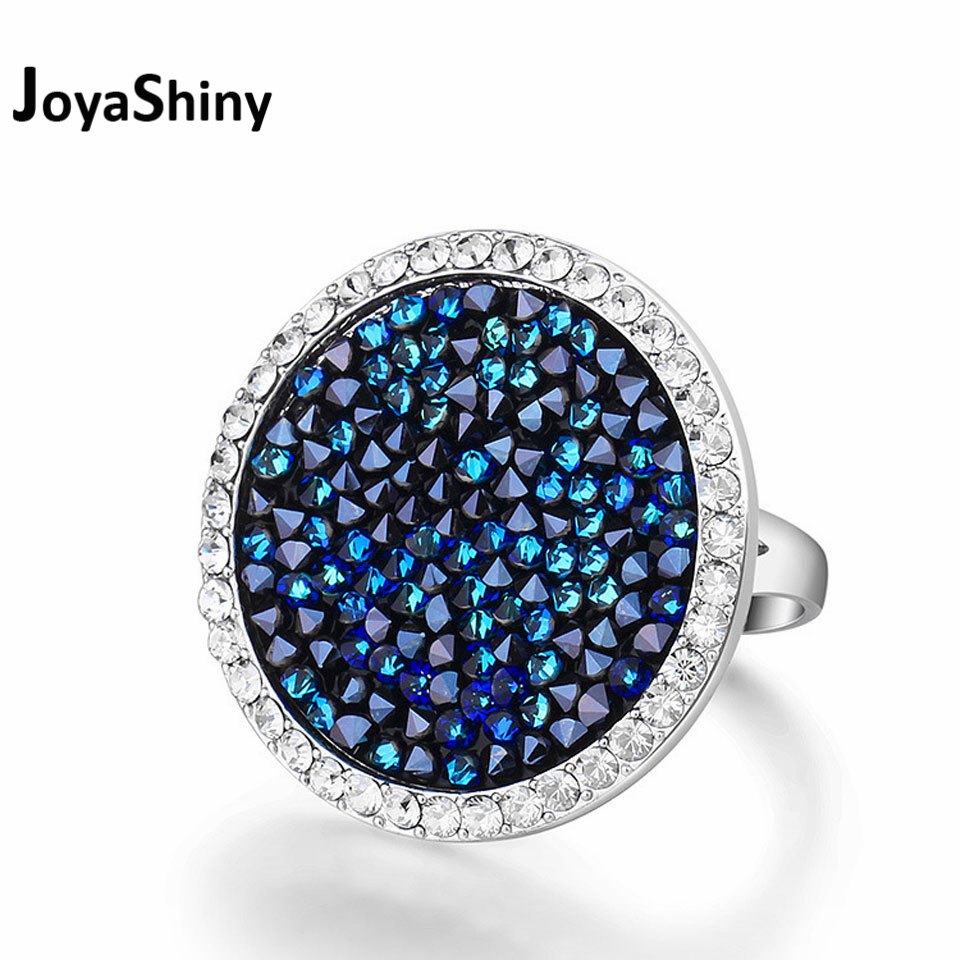 Joyashiny Pave Maxi Round Rings Luxury Romantic Cocktail Ring For Women Party Jewelry Crystals From Swarovski baffin crystals pave jewelry sets round pendant necklace maxi rings luxury accessories for women made with swarovski elements
