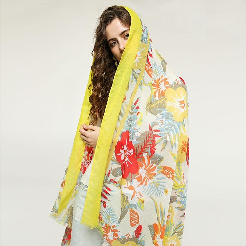 90*180cm Women Soft Cotton Floral Print Scarf Summer Beach Shawls Autumn Spring Warm Foulard Femme Lady Elegant Shawl Scarves