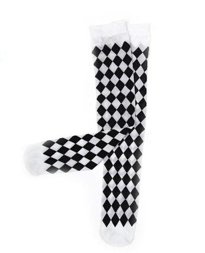 Palhaço de losango preto e branco grade Overknee meias de inclina parte