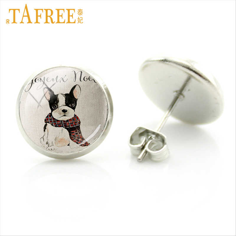TAFREE Colorful Dog Earrings French Bulldog Art Picture round Glass for women men handmade charms mew trendy 2017 jewlery A113