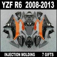 Lowest price fairing body kit for 2008 2013 YAMAHA R6 fairing kit orange glossy flat black fairings YZF R6 08 09 10 11 12 13