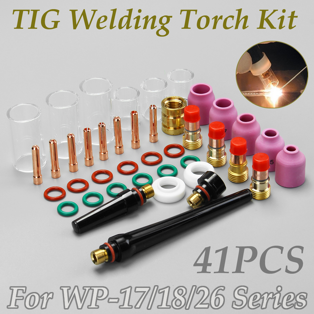 New 41PCS TIG Welding Torch Stubby Gas Lens Glass Pyrex Cup Kit for WP-17/18/26 Series 1mm 1.6mm 2.4mm 3.2mm Needle Clip 17pcs tig welding torch stubby collet gas lens glass nozzle pryex cup kit with heat resistant o rings for wp 17 18 26 series