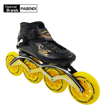 2018 NEW Arrival Pasendi Carbon Fiber Inline Speed Skating Shoes Roller Skates Child Adult Skate Boots Women Men Shoe Profession цена 2017