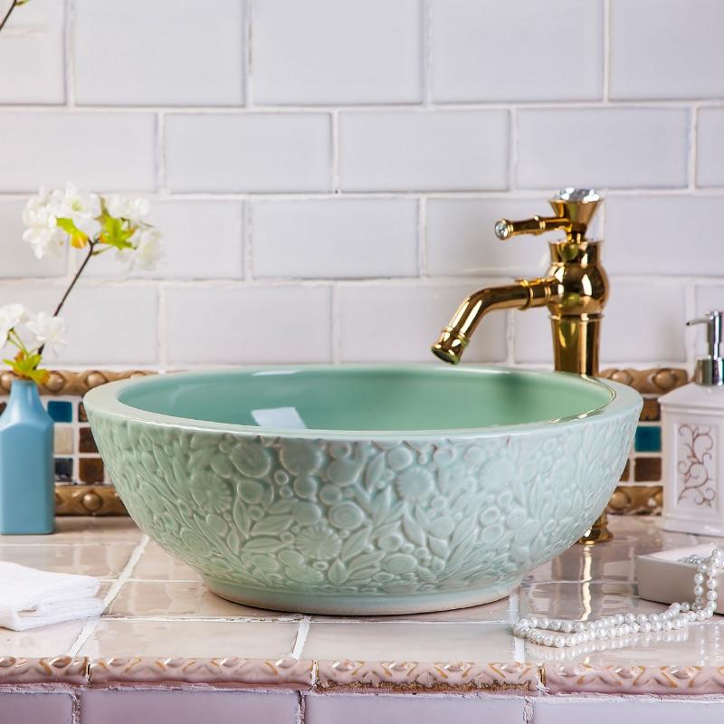 China Artesanal Artística lavatório Arte Cerâmica Balcão Lavatório Pias de Ba -> Lavatorio Banheiro Moderno