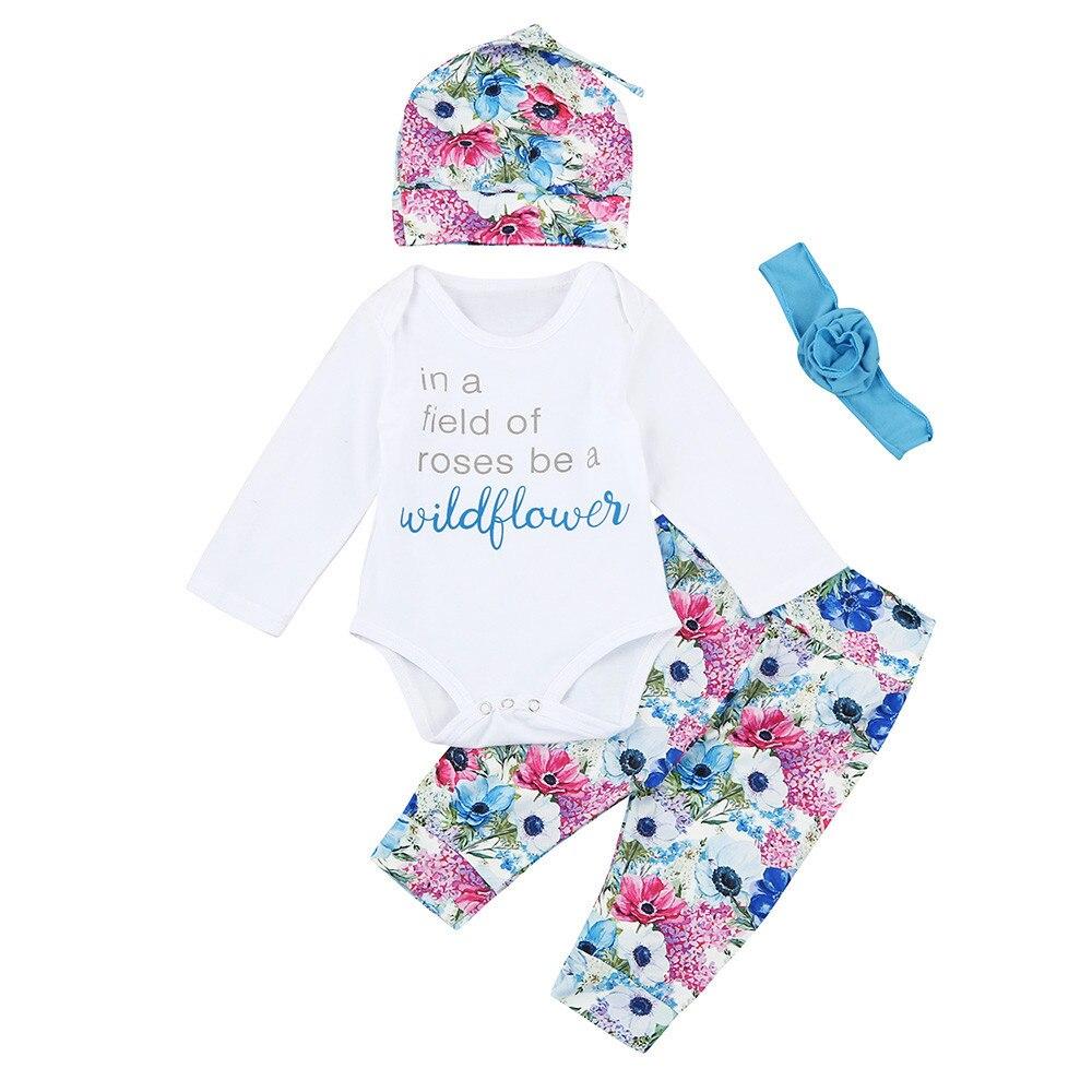 Infantbaby новорожденных Обувь для мальчиков Обувь для девочек письмо футболка Брюки для девочек 4 шт. костюм наряды цветочные длинным рукавом Д... ...