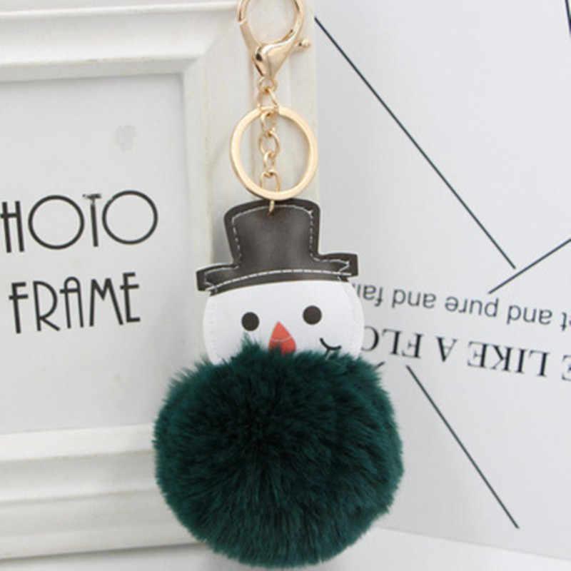 Мини каваи плюшевый Рождественский Снеговик меховой шар мягкие игрушки для ключей милые модные детские куклы помпон пушистый ребенок для девочек Женский подарок