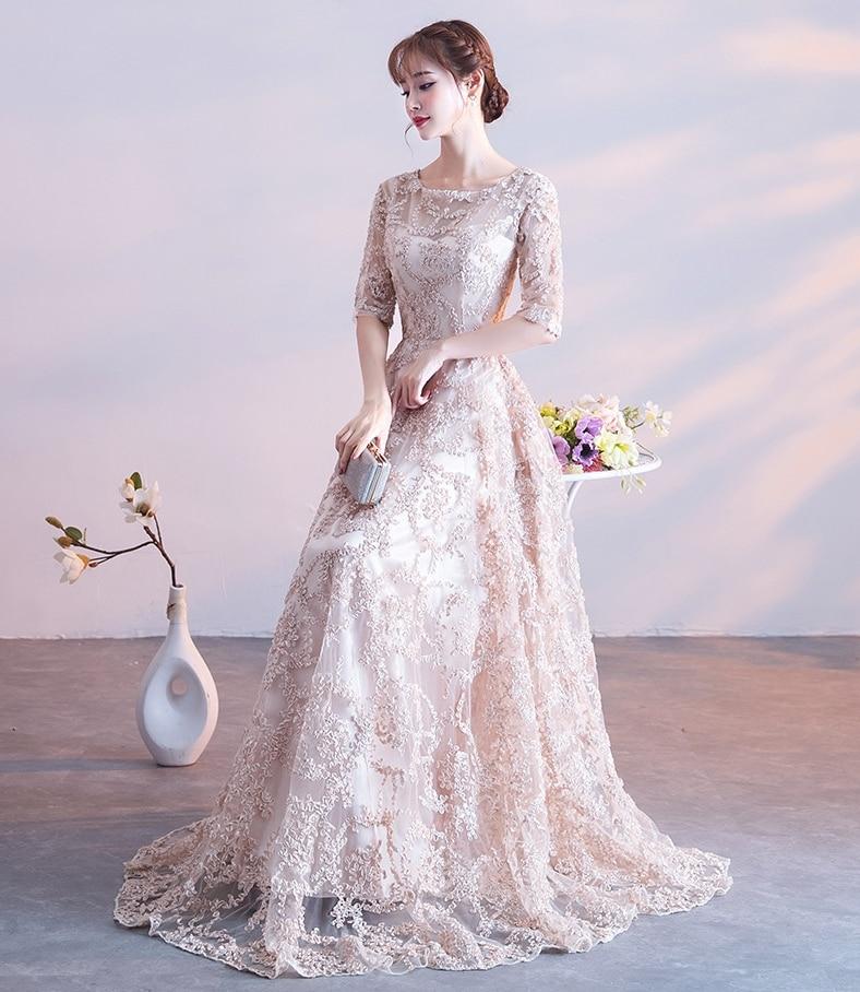 2019 Nieuwe Avondjurk Elegante Banket Champagne Lace Korte Mouwen Floor-length Prom Party Formele Gown Plus Size Gewaad De Soiree