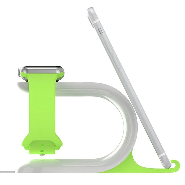 2-in-1 Charging Stand Watch Charge Dock Station Phone Holder Silica Gel Mount For Apple Watch For iPhone