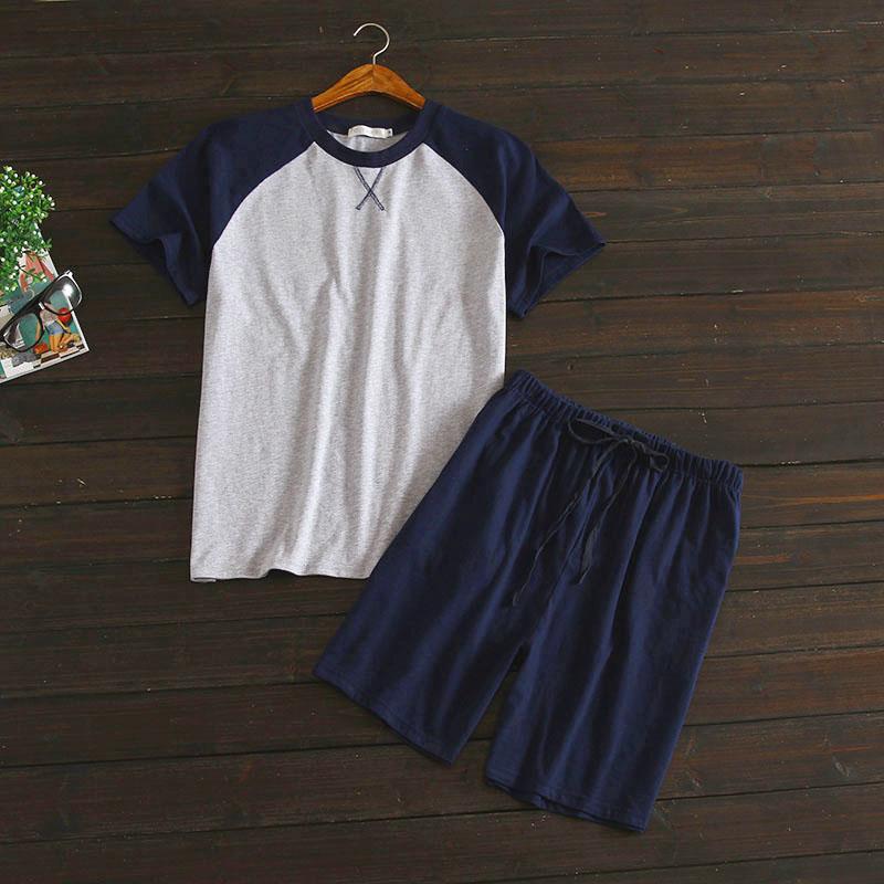 Plus size 100% cotton shorts pajamas sets men Summer short ...
