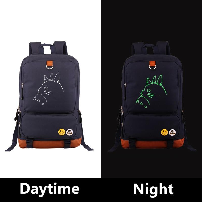 High Quality Anime Totoro Kawaii Emoji Luminous Printing Canvas Backpacks For Teenage Girls School Bags Mochila Feminina