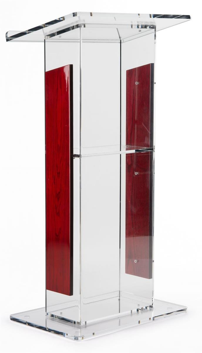 Acrylic Lectern With   Panels, Includes Removable Shelf,  On Podium Surface Easy To Assemble Hardware Included 46