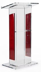 Acrylic Lectern with   Panels, Includes Removable Shelf,  On Podium Surface Easy To Assemble Hardware Included 46 H x23 W