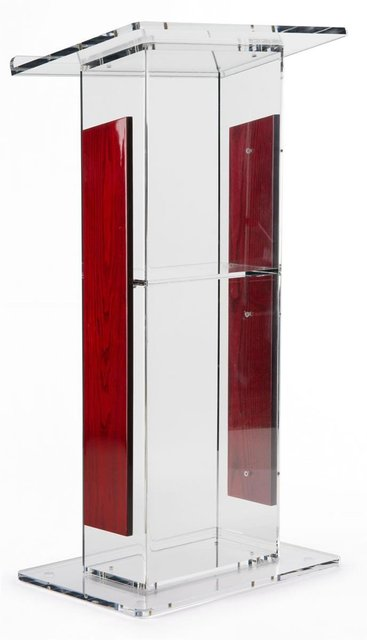 "Acrylic Lectern with   Panels, Includes Removable Shelf,  On Podium Surface Easy To Assemble Hardware Included 46"" H x23"" W"