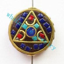 (Min. Order is $10)3pcs/lot Nepal Tibetan Type Manual Antique Bead, Flat Round Brass Embed Imitation Turquoises H662783 28x8mm