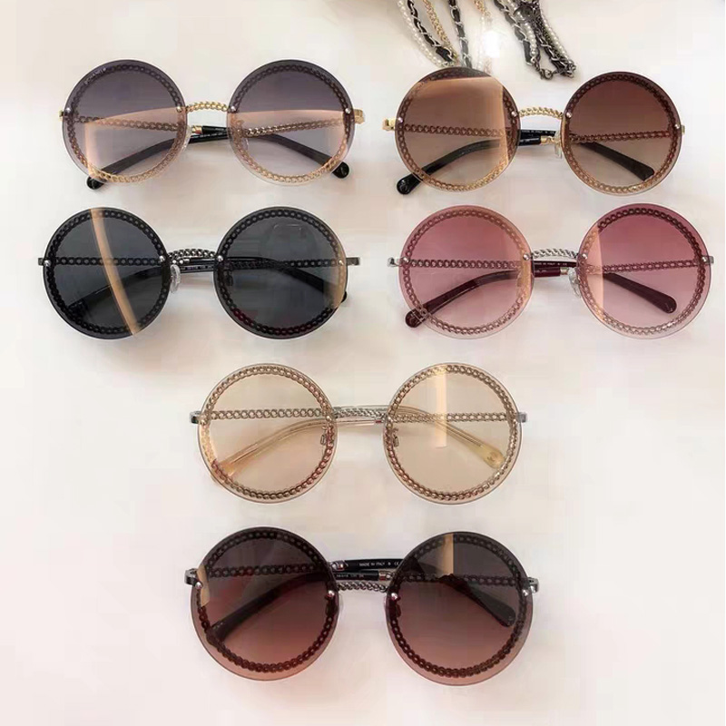 Luxury Brand Design Vintage Retro Rimless Sun Glasses Lady Female Shades Women  Fashion Round Sunglasses