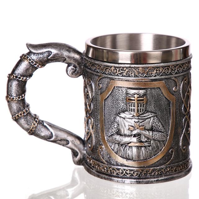 3D Viking Skull Coffee Beer Mug Tankard Personalized Original Skull Mug for Home Bar Beer Wine Drink Gift for Men Coffee Mug
