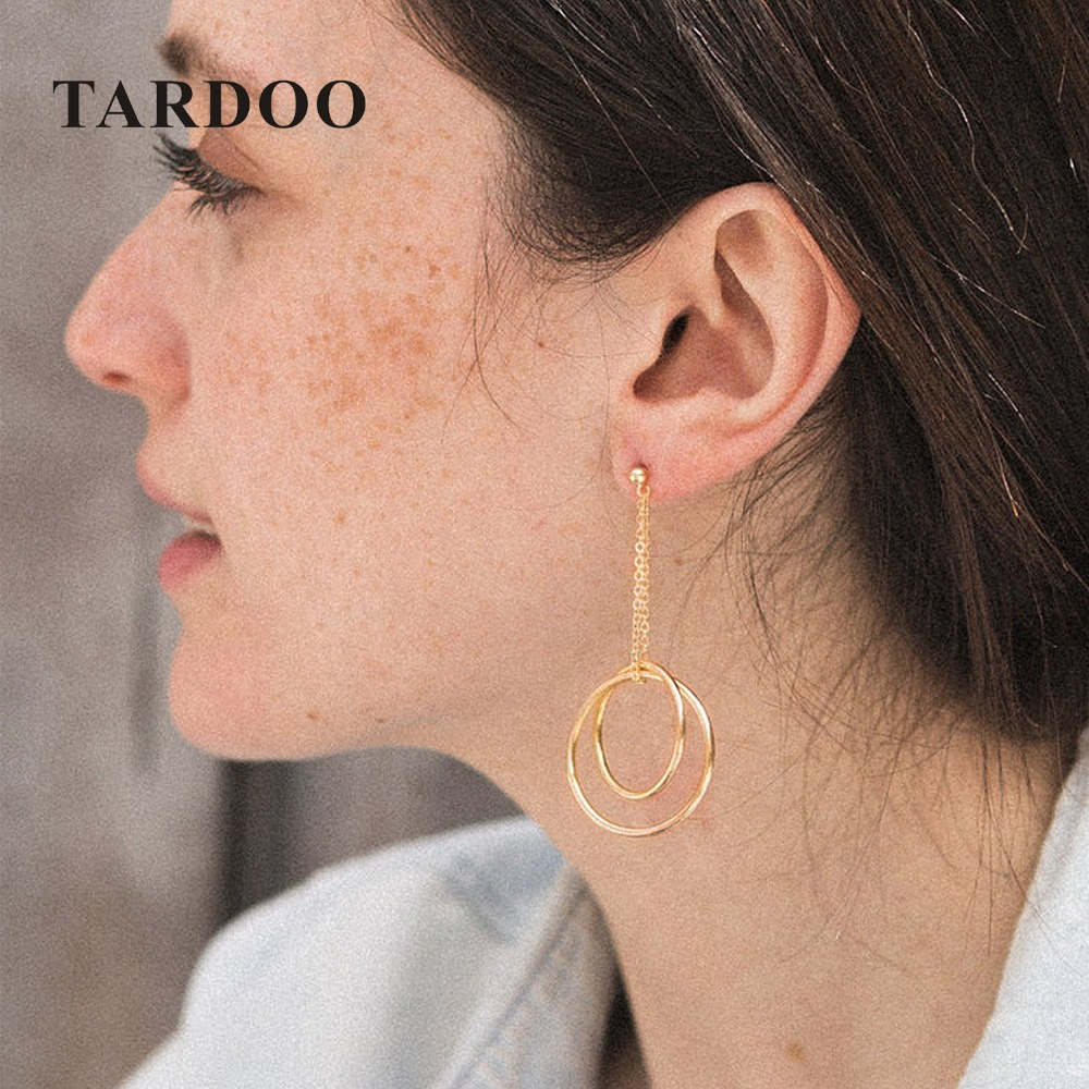 Tardoo Double Cross Circle Drop Earrings 925 Silver Trendy Gold Round Circle Pendant Earrings Women Fine Jewelry Circle Earrings tardoo crossed double circle necklace 925 silver simple double circle gold necklace women fine jewelry hoop pendant necklace