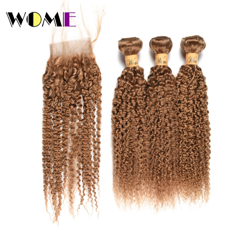 Wome Peruvian Curly Bundles With Closure 27 Honey Blonde Human Hair Weave 3 Bundles With 4X4