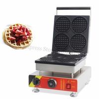 Round Waffle Maker Electric Burger Waffle Machine 110V 220V 4 Round Mini Waffle