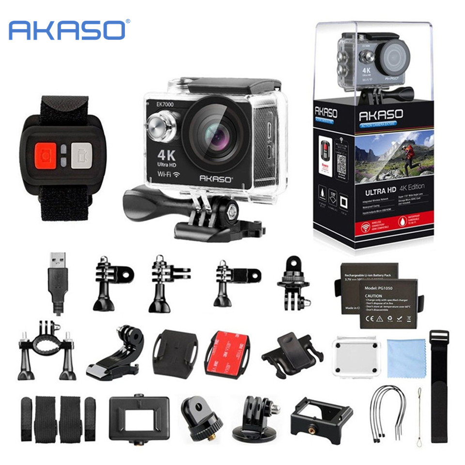 AKASO EK7000 4K WIFI Outdoor action Camera Video Sports Camera wifi Ultra HD Waterproof DV Camcorder 12MP 170 Degree Wide Angle original eken action camera eken h9r h9 ultra hd 4k wifi remote control sports video camcorder dvr dv go waterproof pro camera