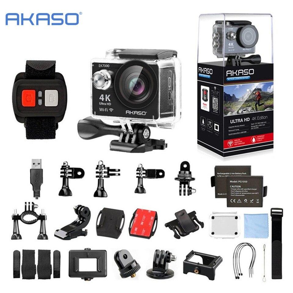 Akaso ek7000 4 К WI-FI Открытый Действие Камера видео Экстремальные виды спорта руля Ultra HD Дайвинг Водонепроницаемый видеокамера 12MP 170 широкий формат